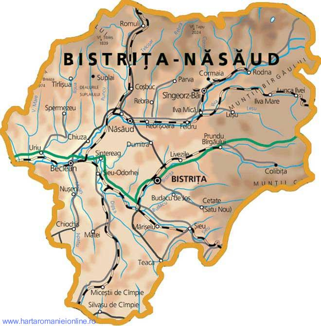 Harta judetului Bistrita-Nasaud
