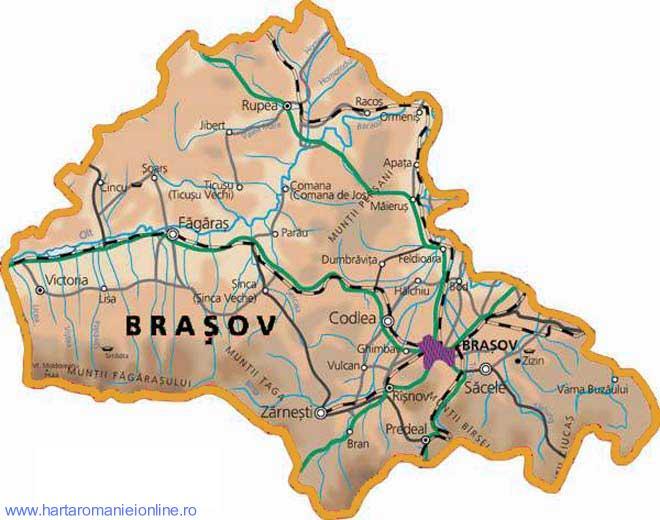 Harta judetului Brasov