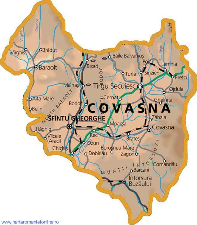 Harta judetului Covasna