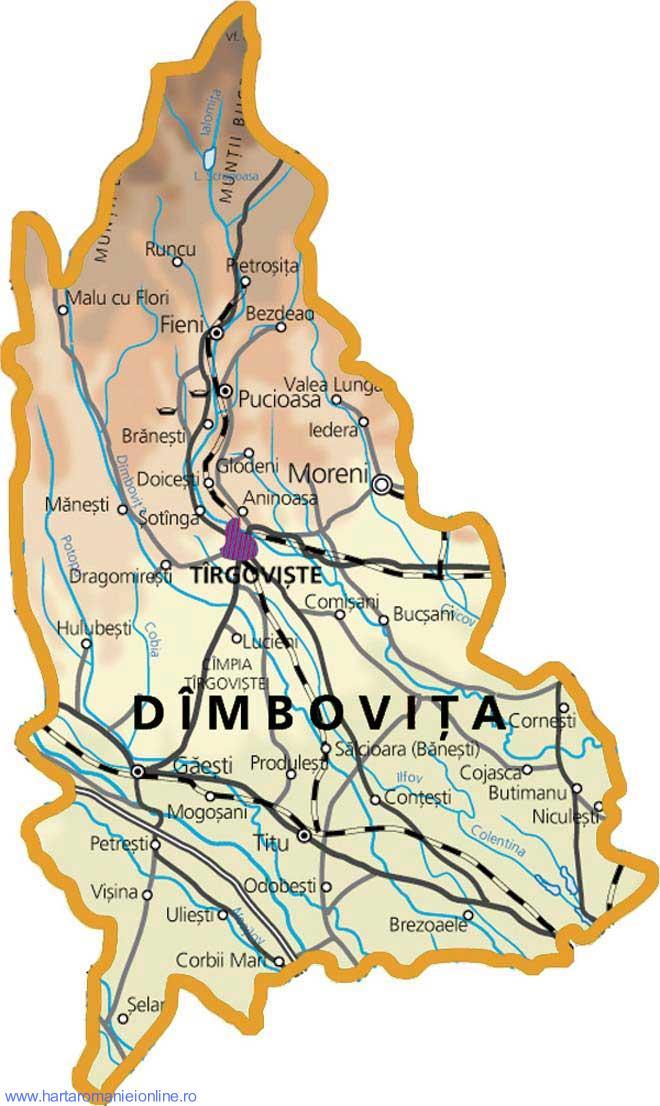 Harta judetului Dambovita