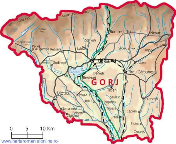 Harta Judet Gorj