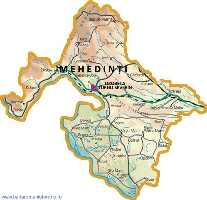 Harta Judet Mehedinti