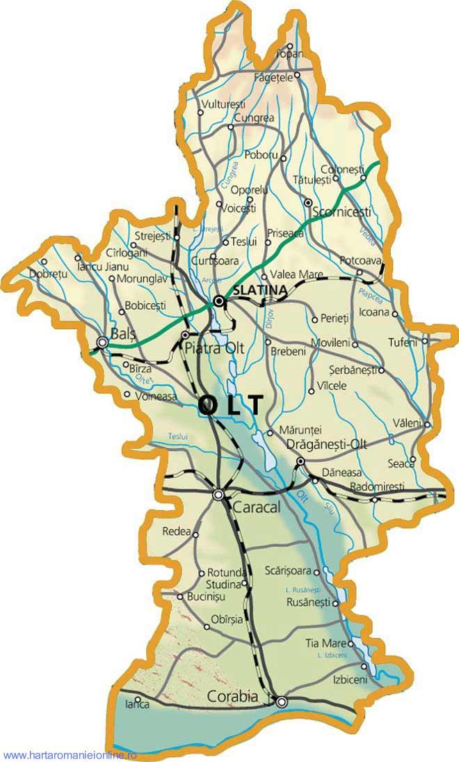 Harta judetului Olt