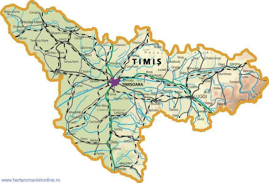 Harta judetului Timis