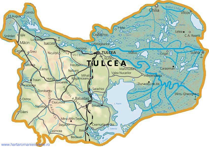 Harta judetului Tulcea